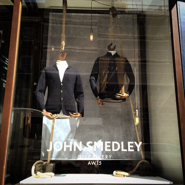 Install done. Here's our latest window scheme for @johnsmedleyknitwear top work by @niceswan #johnsmedley #retaildesign #onebigcompany