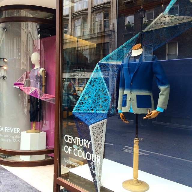 Our window display in the @johnsmedleyknitwear Brook Street store is installed and we're feeling pretty pleased with ourselves! #JohnSmedley #fashion #retaildesign