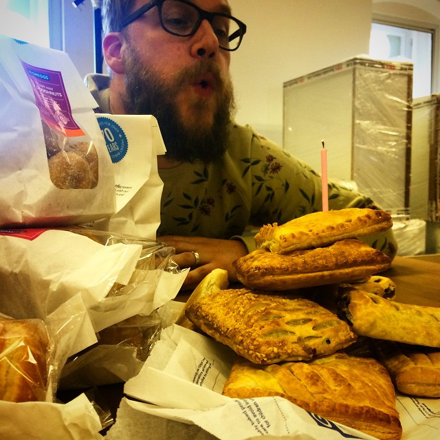 Happy birthday to Neil, we made him a sweet & savoury Greggs cake - delicious. #Greggs #SausageRoll #SteakBake