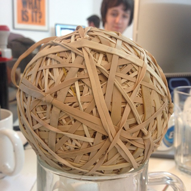 Elastic band ball update - we're rocking a circumference of 364mm #elasticbandball