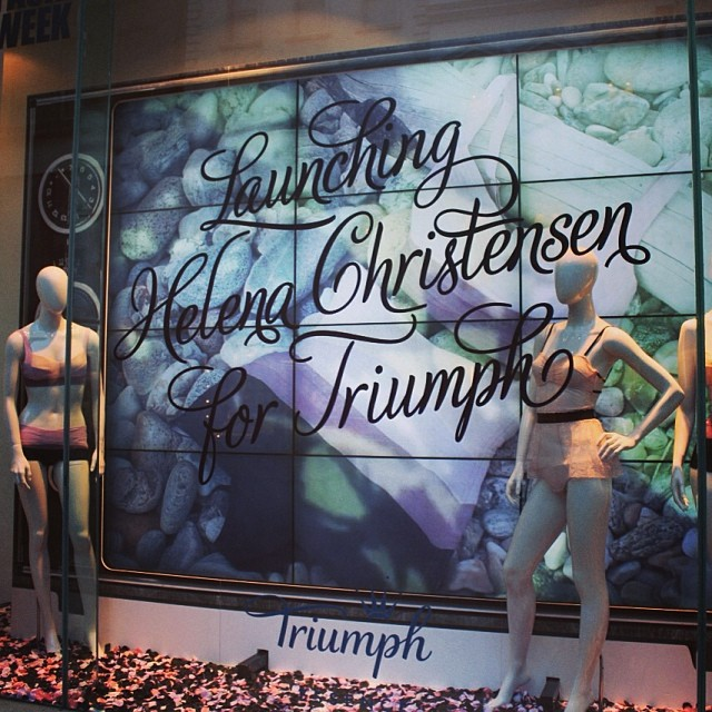 The window we created for Triumph's new Helena Christensen collection is live at Fenwick Bond Street