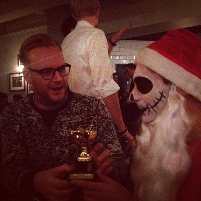 Costa receives his trophy for best dressed at our Halloween drinks - a somewhat smaller than anticipated gathering after the venue we hired went bust!