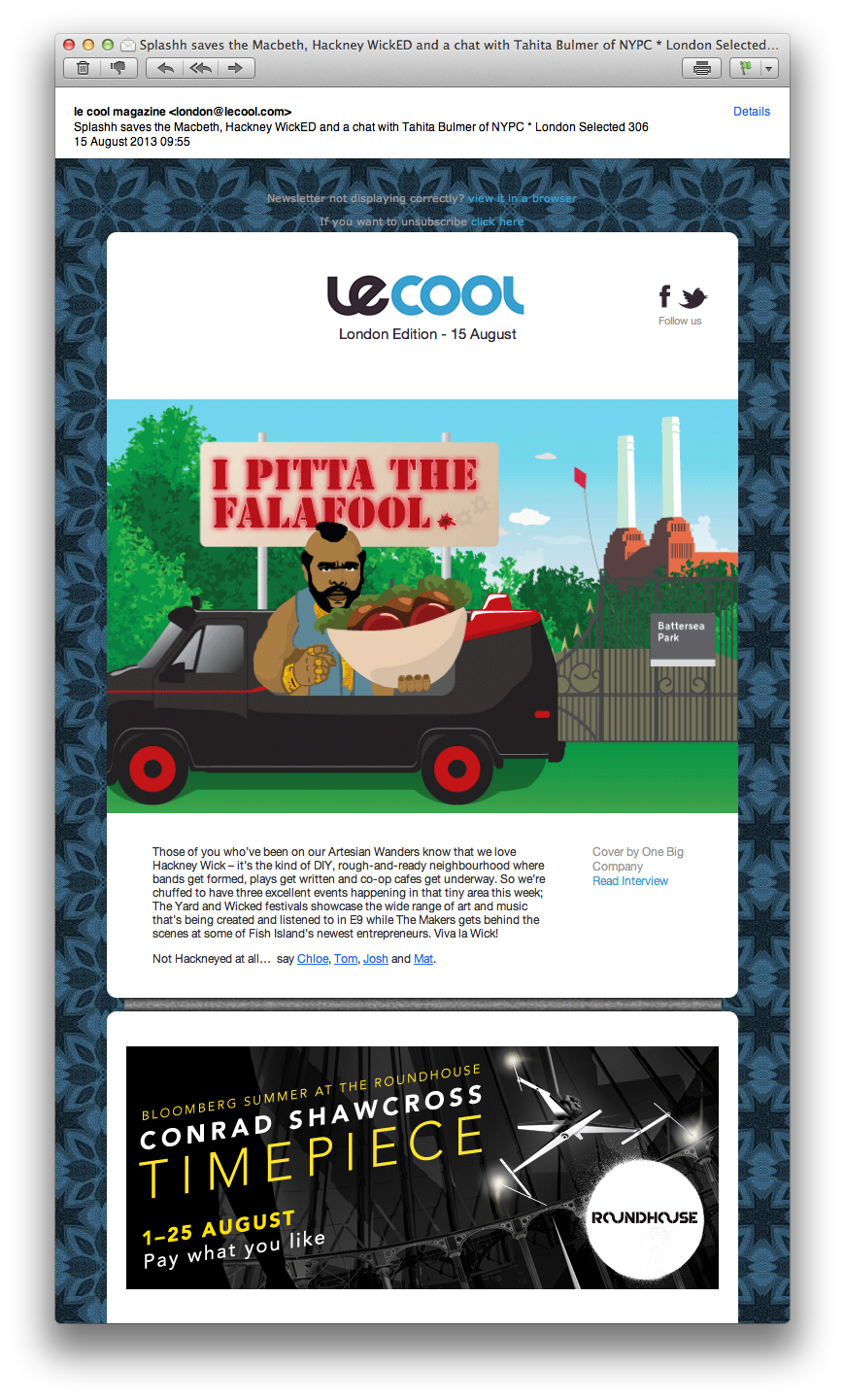 If you haven't received your copy of Le Cool this morning you've probably not seen the cover illustration we created for them - it's a homage to two of our favourite things, B.A. Baracus and food festivals. See it in all its glory and read our interview here http://london.lecool.com/inspirations/one-big-company