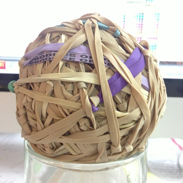 Elastic band ball measuring time - we're up to 31.7cm in circumference