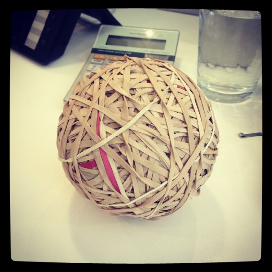 A rubber band ball to rival the One Big Company ball, measuring in at 32.5cm it's a full 5cm in circumference bigger than ours – well done David at Bective Leslie Marsh!