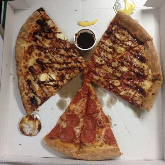 Fat Friday = Papa John's pizza   Leftovers = PIZZA ANGEL!