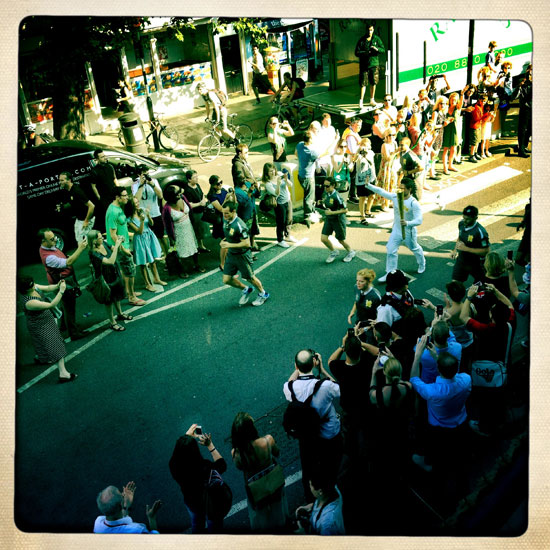 Thanks to Seb, Boris & Co. for organising the route of the Olympic Torch Relay to go directly past our studio, nice to have a bird's eye view!