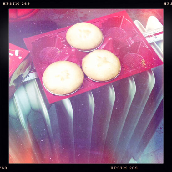 An oil-filled radiator, the professional choice for warming mince pies. p.s. Thanks to Cerys (Dave's mum) for the pies themselves