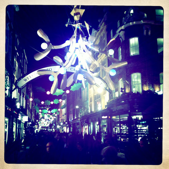 We popped down to Carnaby Street to check out the Pretty Green store last night and were pleased to see that the Christmas lights are up and very nice they look too.