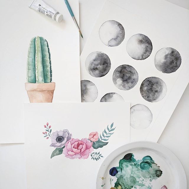 I have three @skillpopnash watercolor workshops this month! Cacti, simple florals, and moon phases. First class is up on the Skillpop site so sign up before it fills up! 😊 (Link in bio)