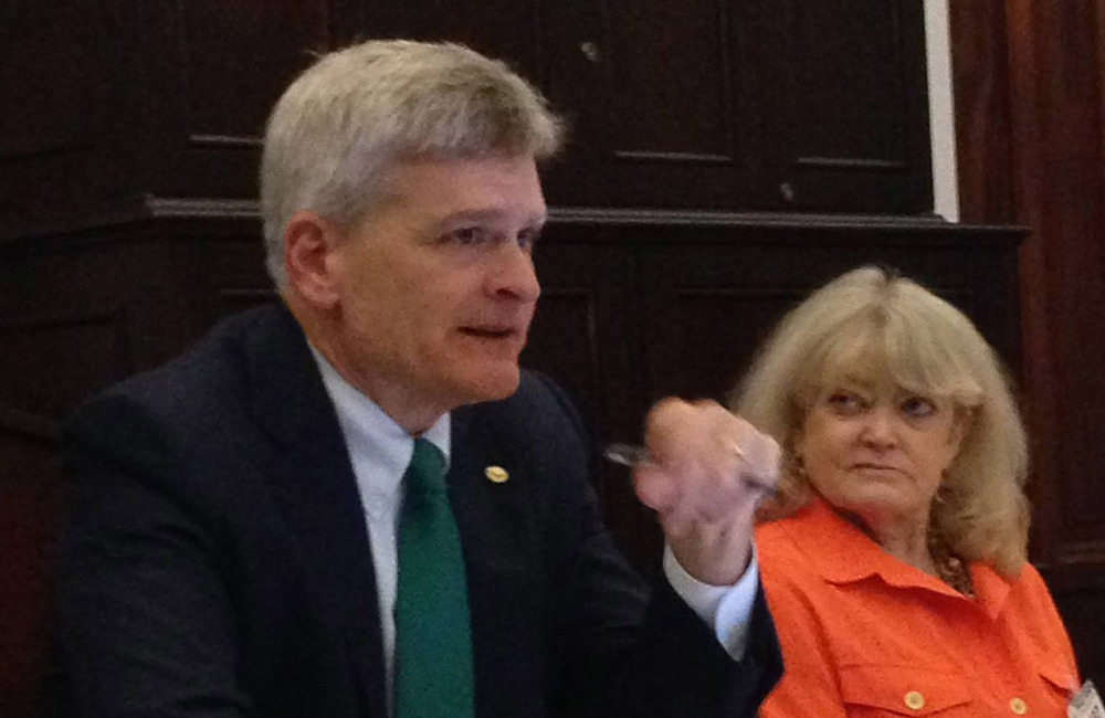 Senator Bill Cassidy (R-LA) spoke at the 2015 AJCU Federal Relations Network Conference, organized by AJCU Vice President for Federal Relations Cynthia Littlefield (right).