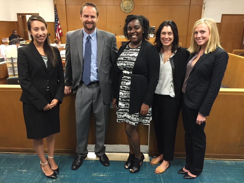 JJC Clinical Co-Director Samantha Buckingham flanked in Inglewood Juvenile Court by CJLP alumni Camila Alvarez (JJC, '15), Erik Rodstrom (JJC, '08, now a public defender), Sherise Francis (JJC, '09, now a public defender) and Lilian Walden (YJEC, '15). Photo Courtesy of Loyola Marymount University.
