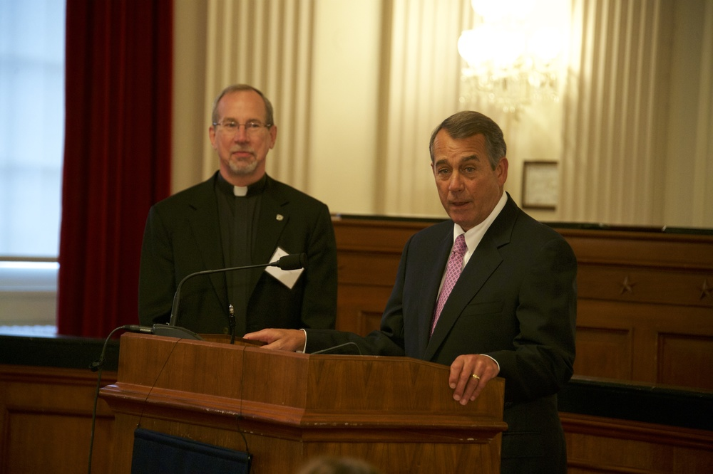 Xavier University President Rev. Michael J. Graham, S.J. with Former Speaker John Boehner on October 28th.