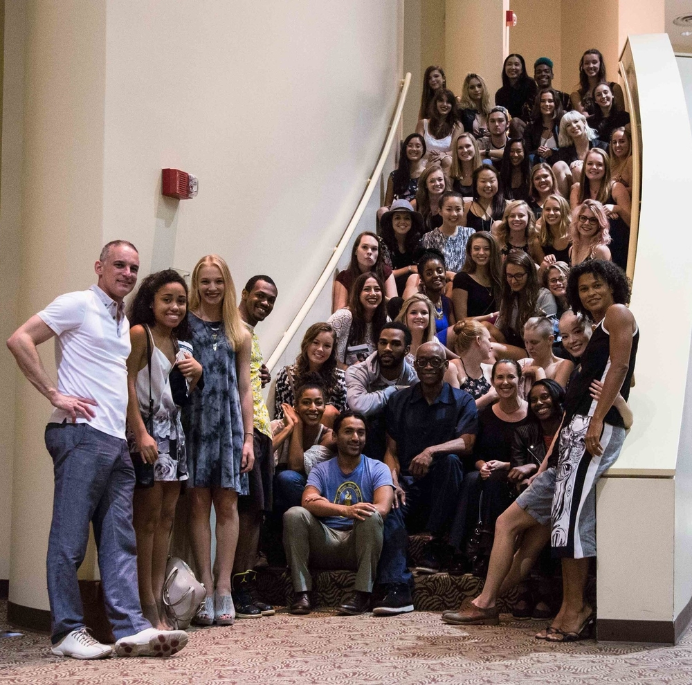 Bill T. Jones (center) and LMU Professor Rosalynde LeBlanc Loo (front row, far right) with the LMU Dance Department. (Loyola Marymount University)