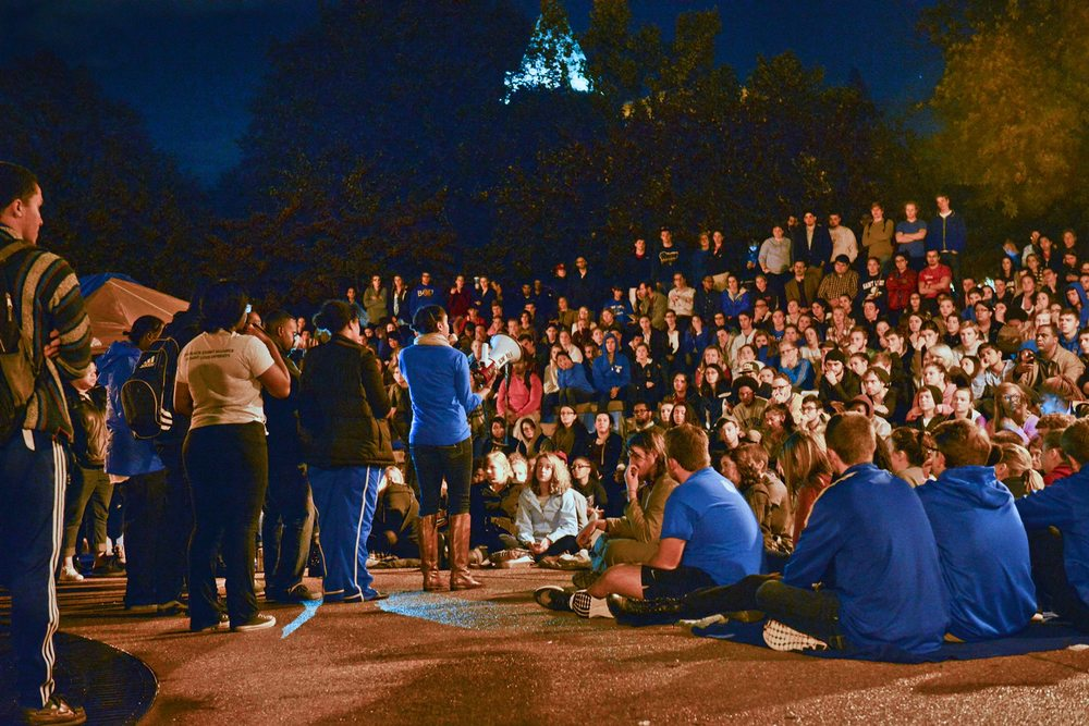 Student protesters at campus teach-in (Photo by Saint Louis University)