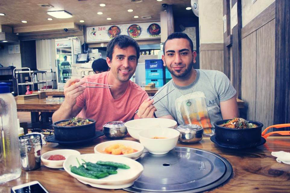 Samuel Habib '12 with an exchange student (Photo courtesy of Saint Peter's University)