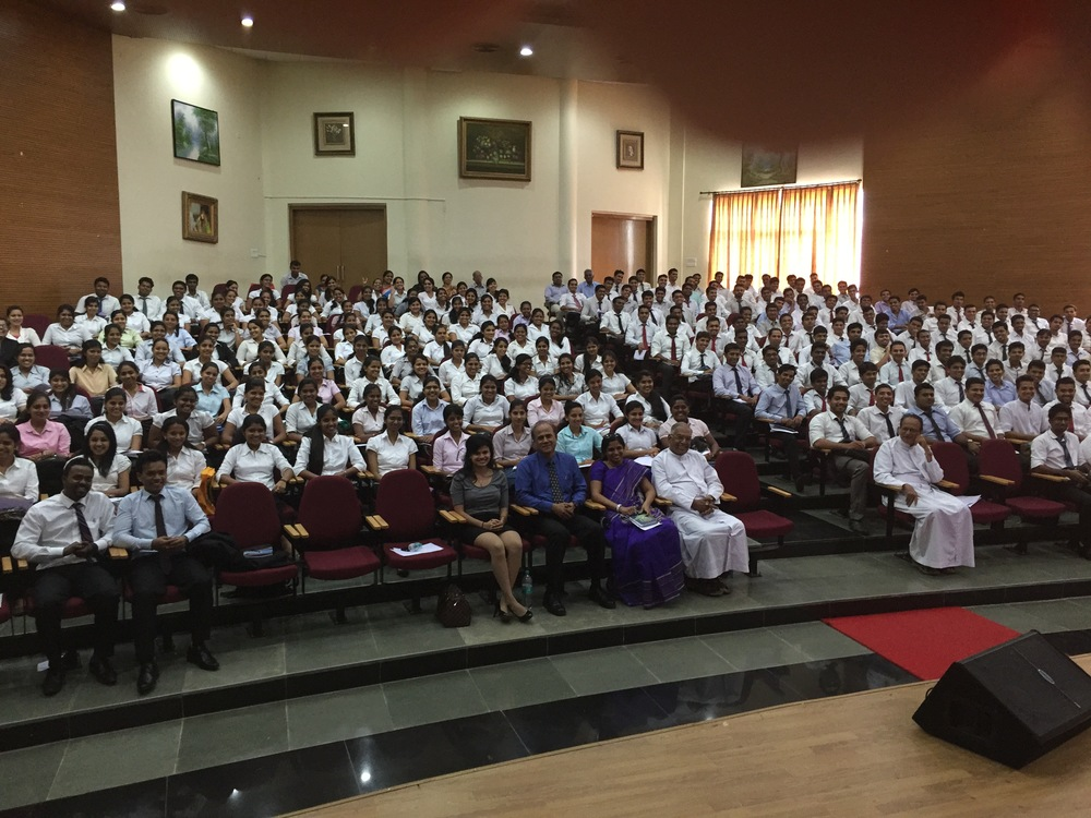 The entire MBA cohort from St. Aloysius College in Mangalore, India in attendance for a 90-minute lecture by Jim Joseph, dean of the Madden School of Business. (Photo courtesy of Le Moyne College)
