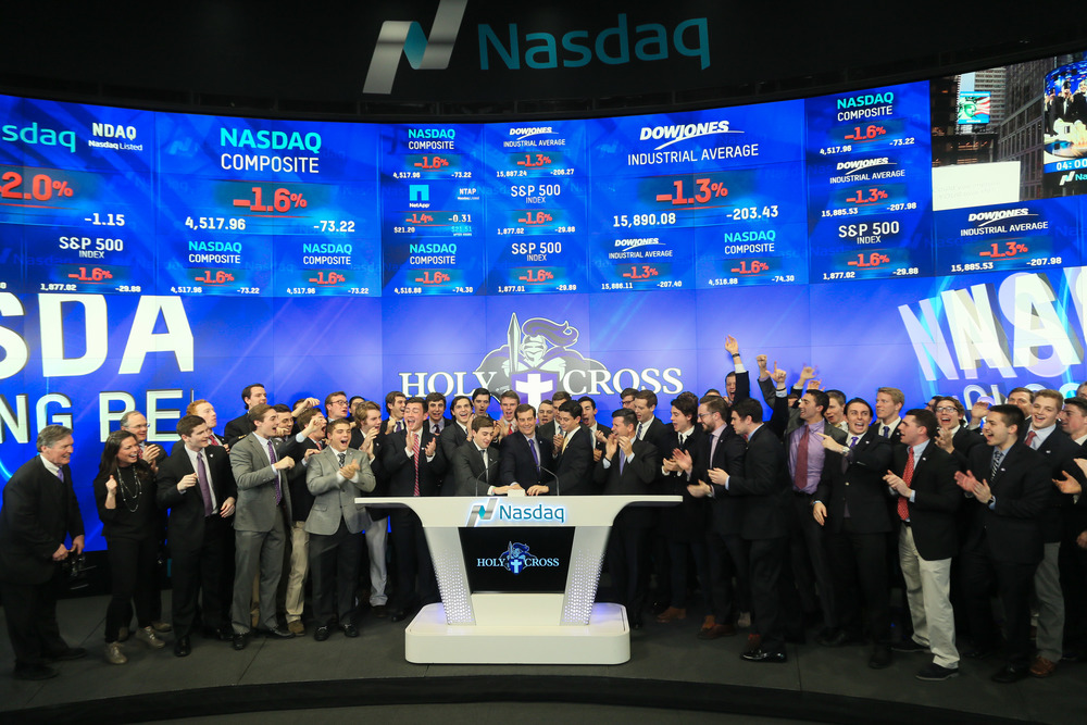 College of the Holy Cross Lacrosse Players Ring the Closing Nasdaq Bell in New York City (Photo by College of the Holy Cross)