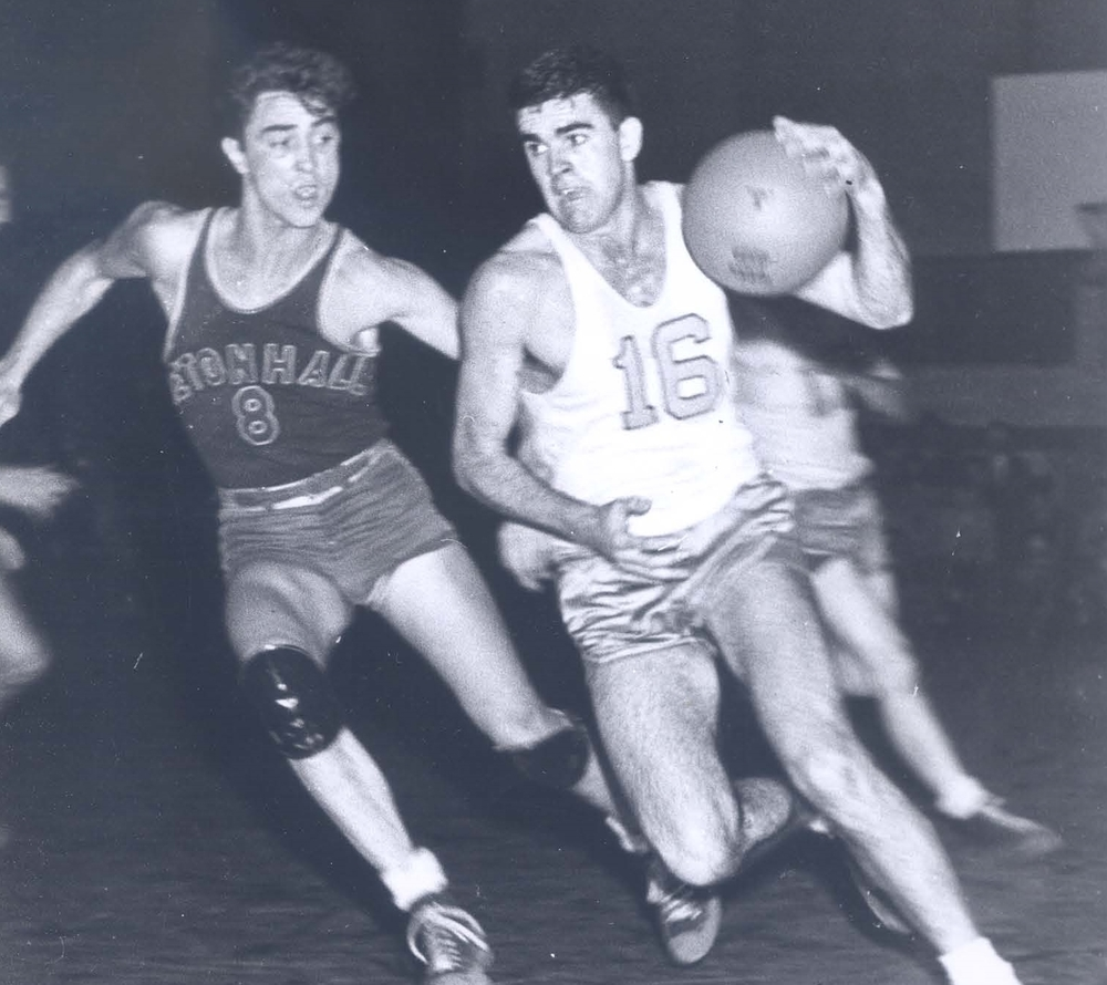 1,000 point Loyola scorer Jim Lacy, Jr. vs. Seton Hall Hall of Famer Bobby Wanzer in 1947 (photo by Jimmy Smith)