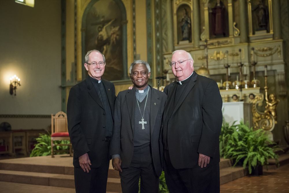 Santa Clara University President Rev. Michael E. Engh, S.J., Cardinal Peter Turkson & Bishop Patrick J. McGrath at Cardinal Turkson's kickoff event for last fall's conference on the environmental teachings of Pope Francis (Photo by Joanne Lee, Santa Clara University)