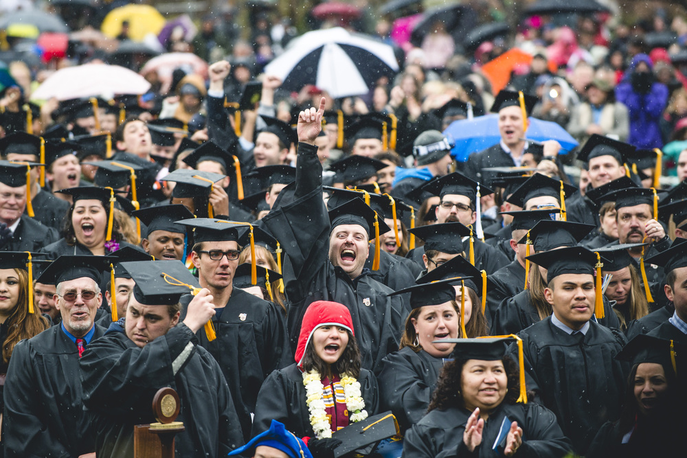 In spite of a surprise snowstorm, nearly 1,250 students graduated from Regis University on April 30th and May 1st (Photo by Regis University)