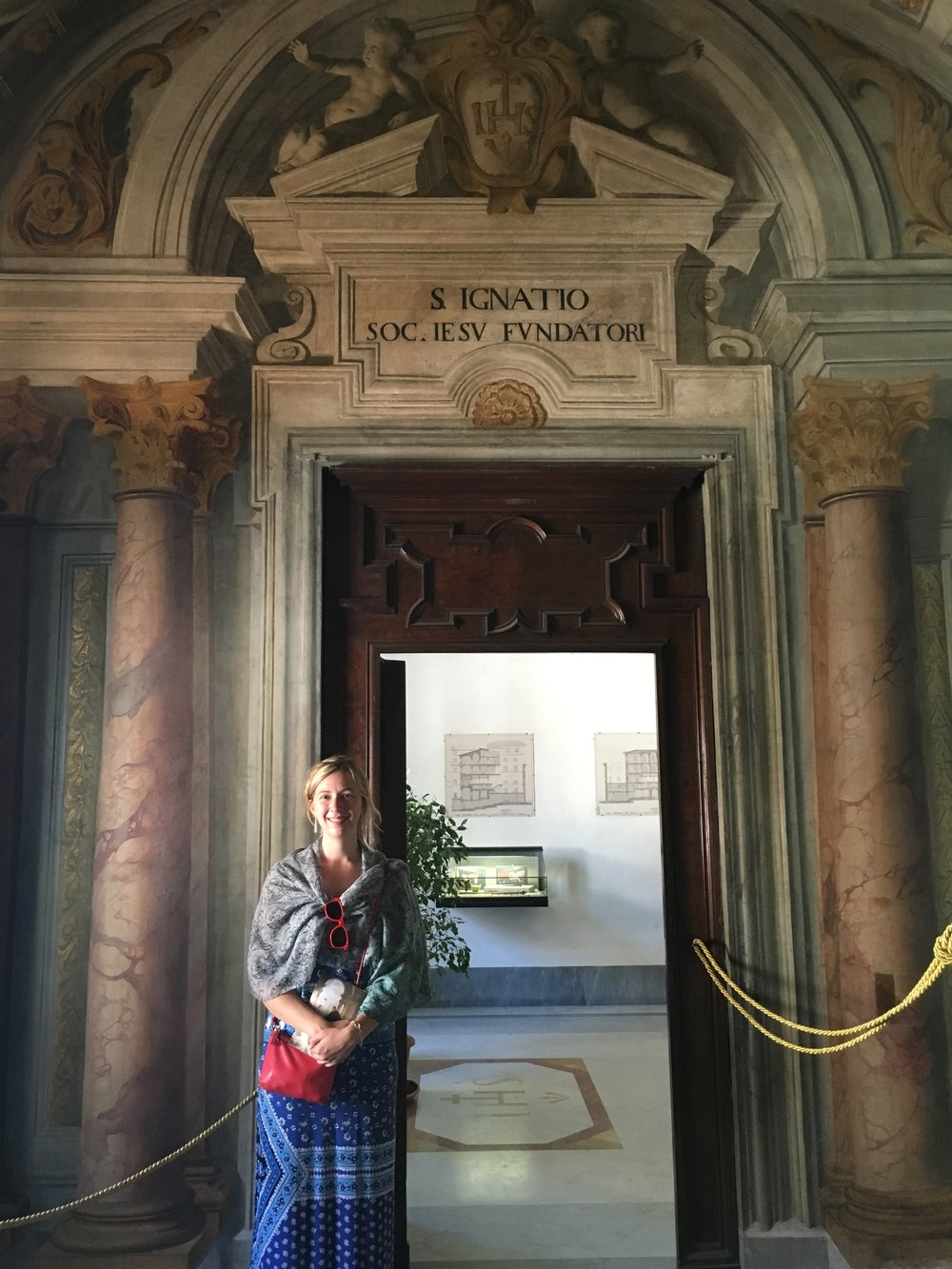 During a recent summer vacation to Rome, Deanna visited St. Ignatius' apartment next to the Jesuit Church of the Gesu (Photo by Pete Spiro)