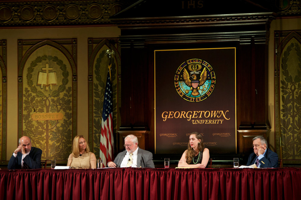 From left: Jerry Seib, Melinda Hennenberger, John Carr, Emma Green, Mark Shields (Photo by Georgetown University)