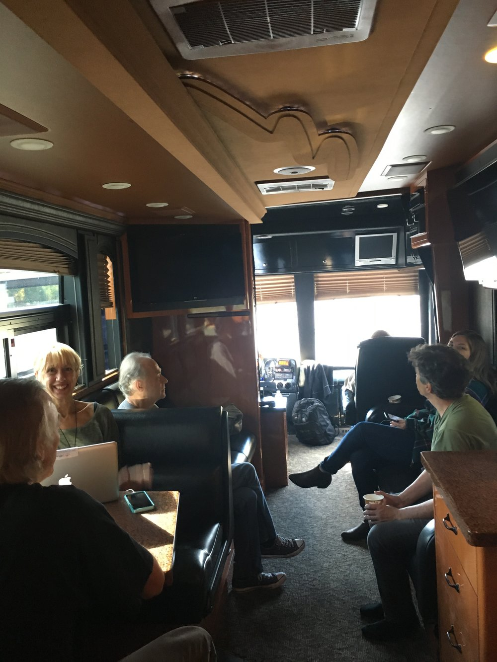 Monica Baker (JRS-USA) on the JRS tour bus (Photo by Deanna Howes)