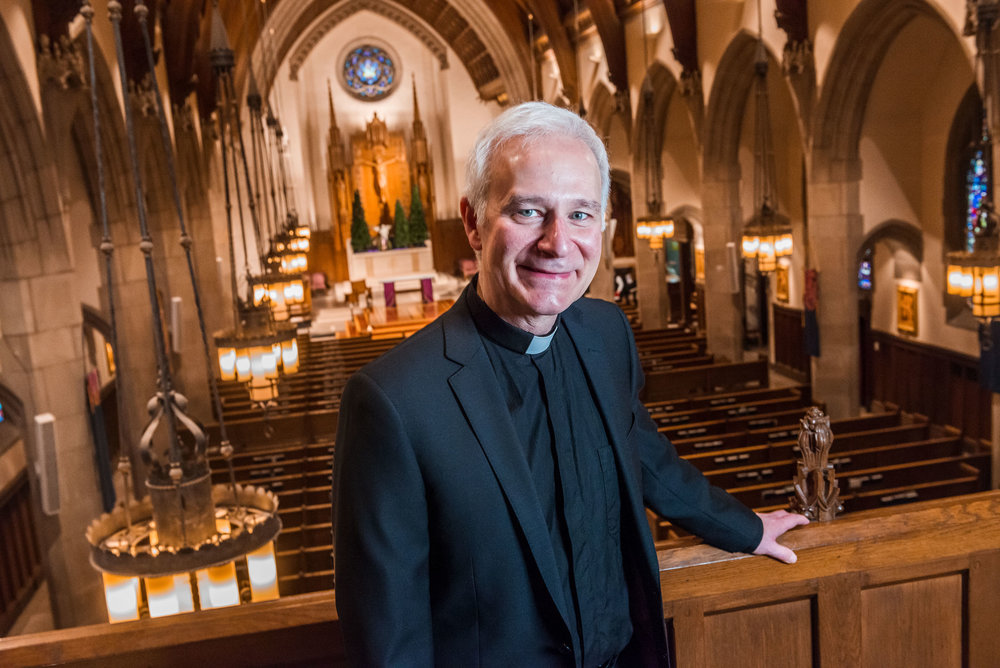 Rev. Joseph Costantino, S.J., Pastor of  ST. IGNATIUS CHURCH in CHESTNUT HILL, MA  (Photo by Gary Gilbert, Boston College)