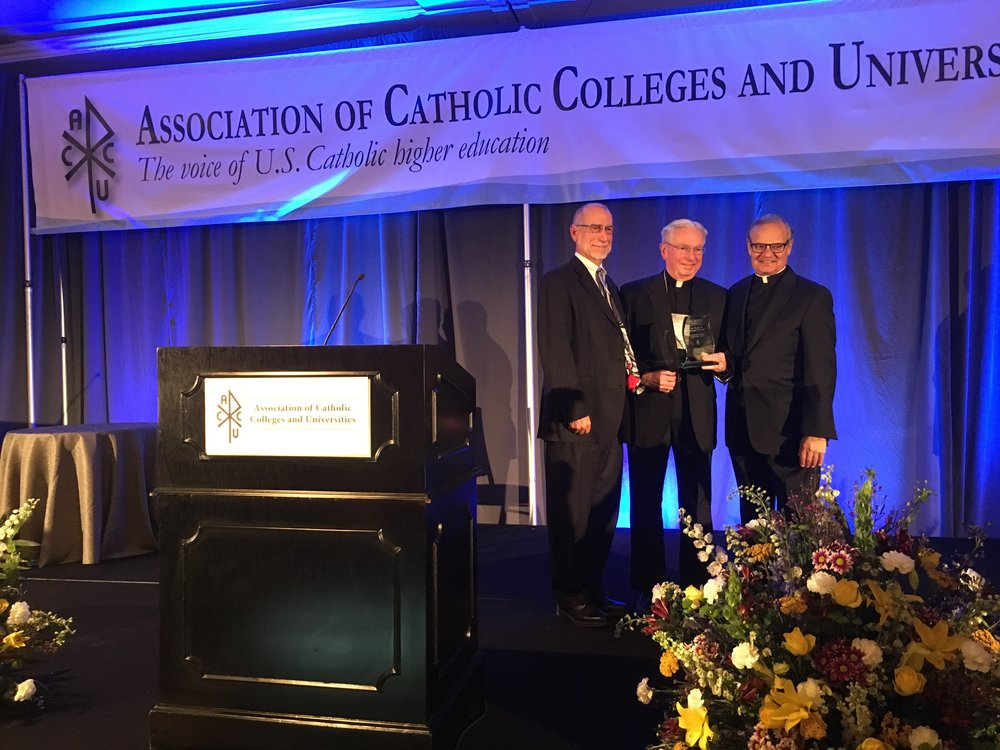 (L-R) ACCU President Dr. Michael Galligan-Stierle. AJCU President Rev. Michael J. Sheeran, S.J., Msgr. Franklyn Casale, ACCU Board Chair & President of St. Thomas University in Miami. (Photo by AJCU)