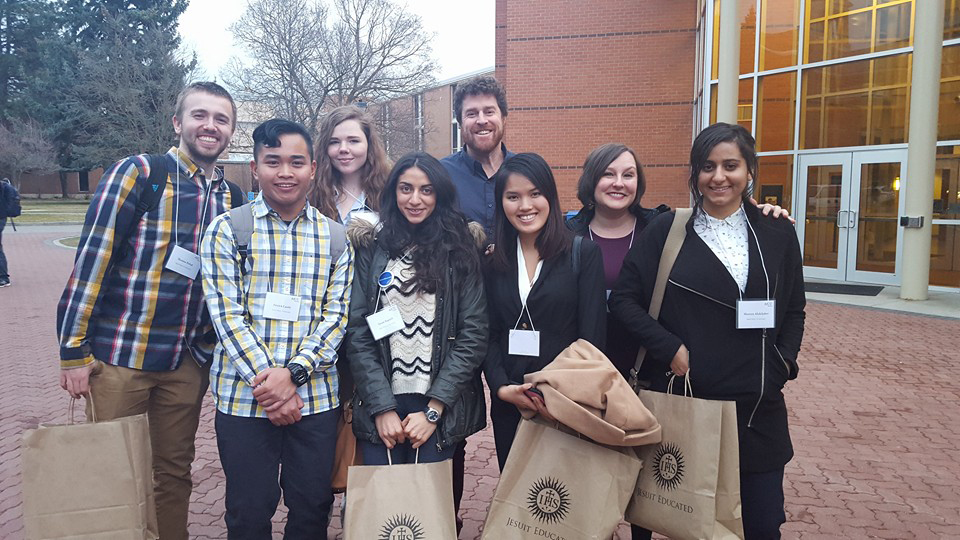 (L-R): Thomas Hrabal '17, Patrick Caoile '19, Alexis O'Callahan '19, Susan Ragheb '16, Dr. Daniel Murphy, Thu Anh Ly '19, Dr. Rachel Wifall and Shereen AbdelJaber '17.