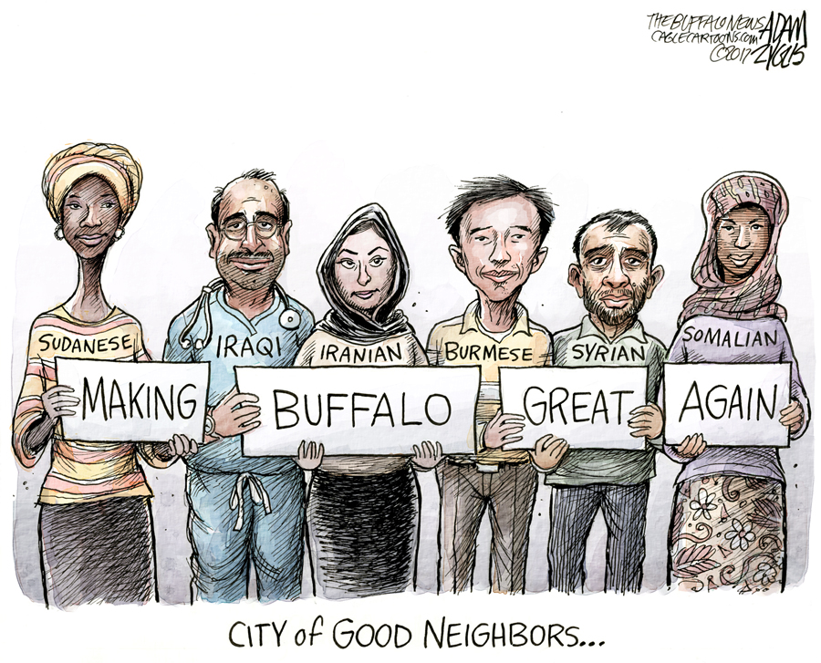 '  Nation of Immigrants  ' Cartoon courtesy of Adam Zyglis for  The Buffalo News