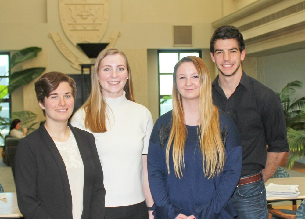 (L-R): University of Scranton students Christa Howarth, Kathleen Reilly, Kaitlyn Jones & Kyle Rodgers (Photo by The University of SCranton)
