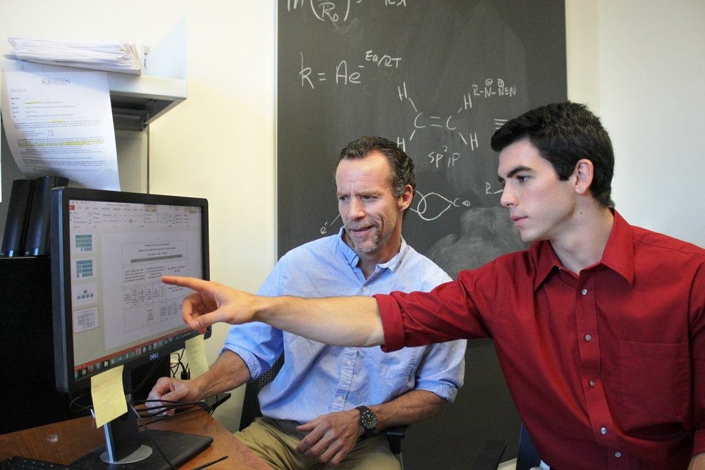 Timothy Foley, Ph.D., professor of chemistry at The University of Scranton, and student Kyle Rodgers (photo by The University of Scranton)