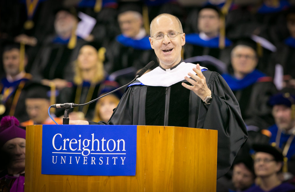 REV. JAMES MARTIN, S.J. ADDRESSING THE CLASS OF 2016 AT CREIGHTON UNIVERSITY (PHOTO BY CREIGHTON UNIVERSITY)