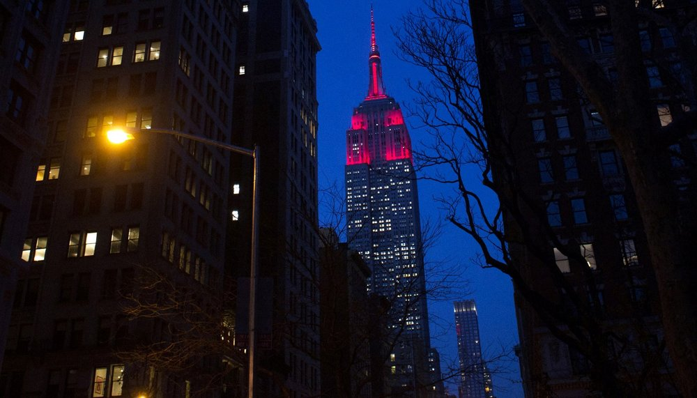 New York City's Empire State Building lit in maroon during the Fordham Founder's Dinner on March 27, 2017 (Photo by Fordham University)