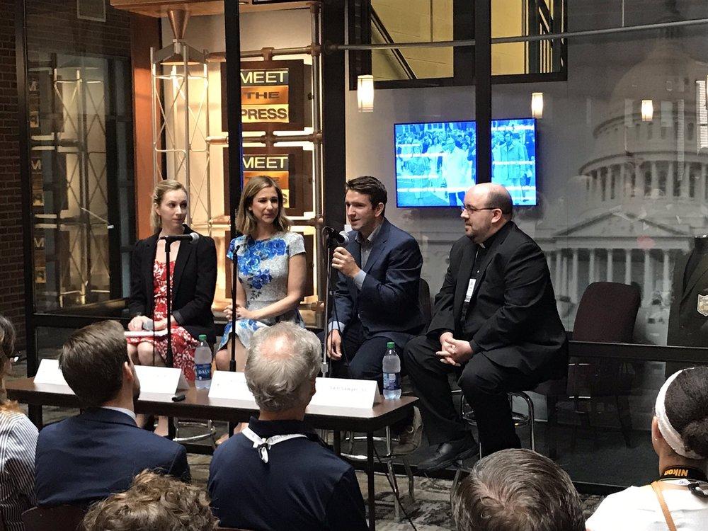 Young Media Panel (L-R): Deanna Howes (AJCU), Caitlin Huey-Burns (Real Clear Politics), Andrew Rafferty (NBC News), Rev. Sam Sawyer, S.J. (America Media) (Photo by John Carroll University)