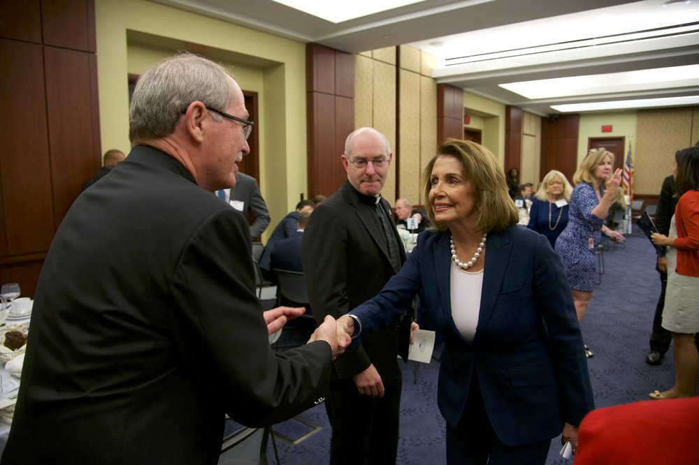 Rev. Michael Engh, S.J. (Santa Clara University), Rev. Paul Fitzgerald, S.J. (University of San Francisco), Representative Nancy Pelosi (D-CA)