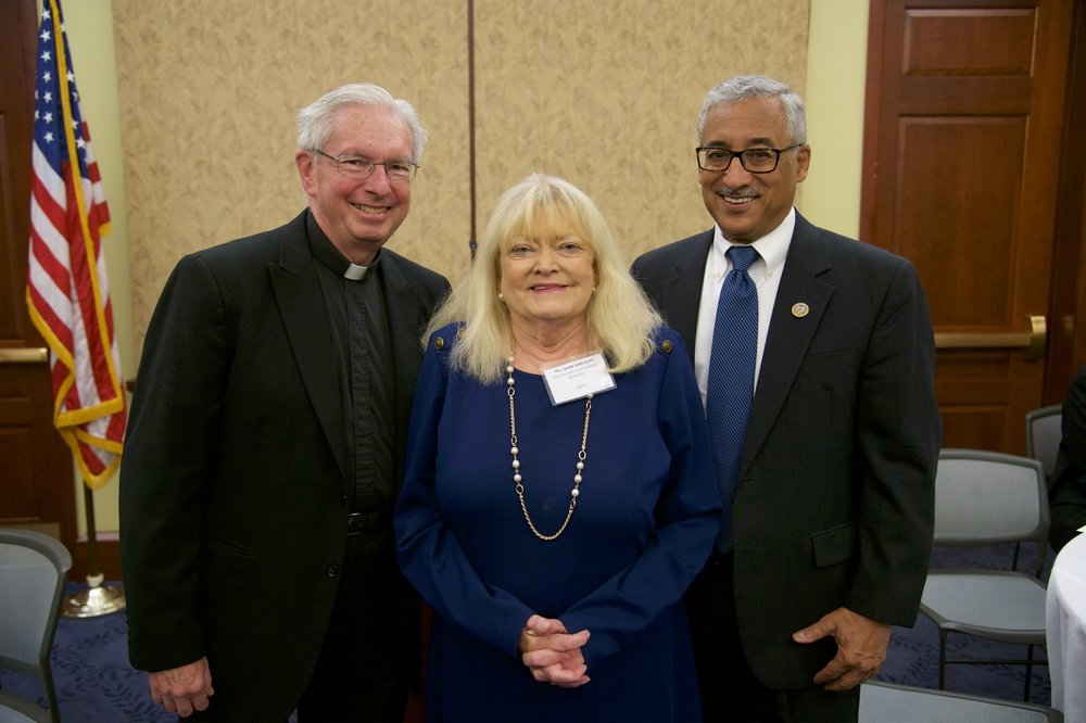 Rev. Michael J. Sheeran, S.J. (AJCU), Cyndy Littlefield (AJCU), Representative Robert C. Scott (D-VA)