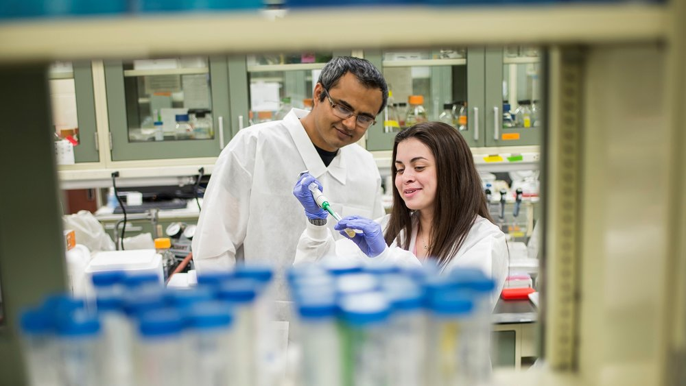 Dr. Shantanu Bhatt and Marisa Egan '18, a student scholar who is researching E. albertii, a strain of bacteria in the same family as E. coli (photo by Saint Joseph's University)