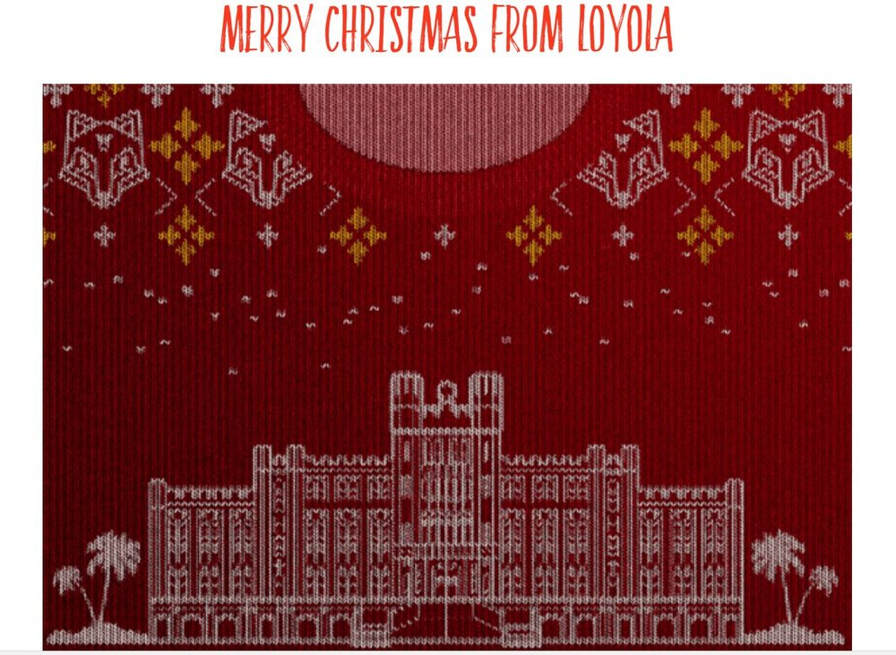 A digital Christmas sweater from Loyola University New Orleans (New Orleans, LA) [  Full image seen here  ]
