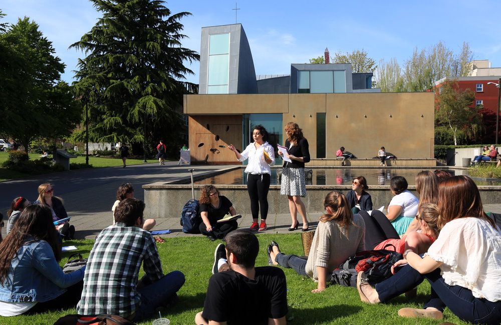 Students gather outside of the Chapel of St. Ignatius (photo courtesy of Seattle University)