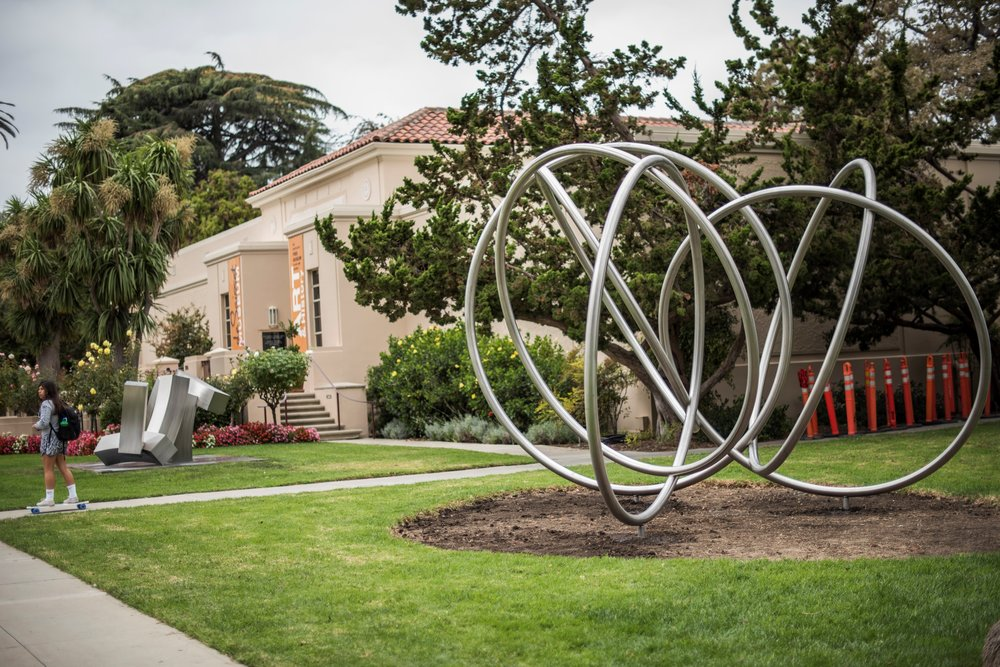 """The de Saisset Museum at Santa Clara, home of artist Bruce Beasley's  Rondo I  sculpture, is one of many sites cited by students in the class,  Exploring Living Religions , for its """"spiritual resonance"""" (photo by Joanne Lee, courtesy of Santa Clara University)"""