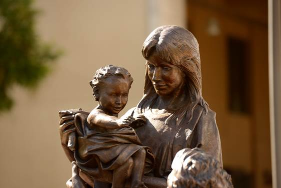 "A statue of the Holy Family, titled,  In Celebration of Family , is one of many sites on Santa Clara's campus where students in the class,  Exploring Living Religions , say they find themselves contemplating spirituality as a ""whole person"" (photo courtesy of Santa Clara University)"