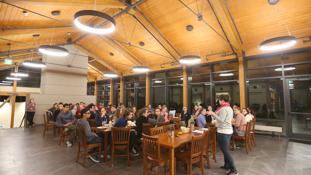 Students gather for a meal at the Contemplative Center (photo by Tom Retigg for the College of the Holy Cross)