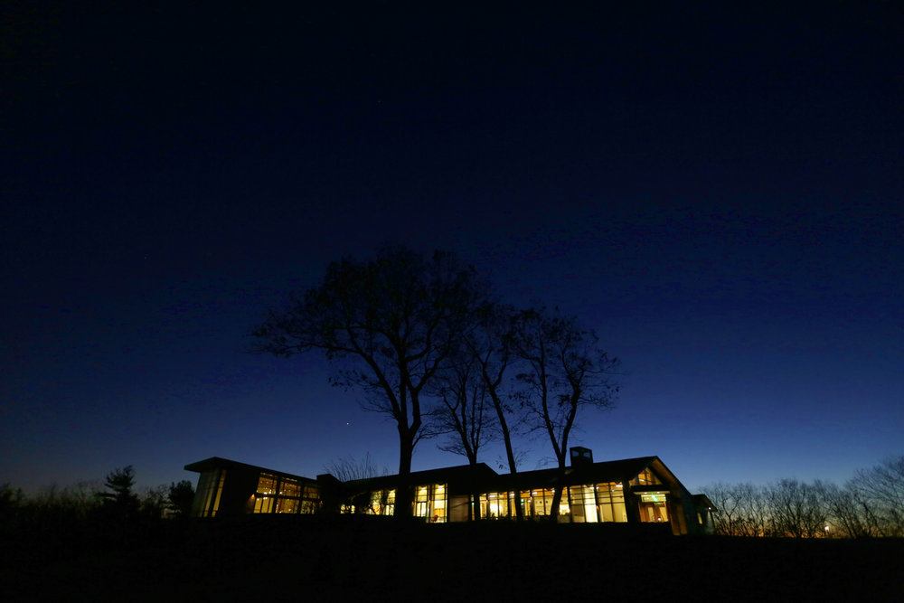 Twilight at the Contemplative Center (photo by Tom Retigg for the College of the Holy Cross)