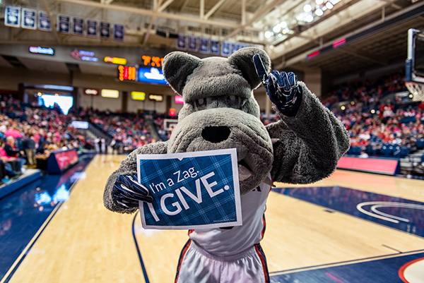 Spike, the Gonzaga University Bulldog mascot, showed support for Zags Give Day and joined over 1,887 donors in giving to Gonzaga on March 8, 2018 (photo courtesy of Gonzaga University)