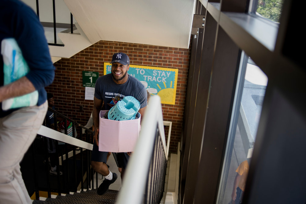 Move-in day involves lots of stair climbing at Regis University (photo by Regis University)