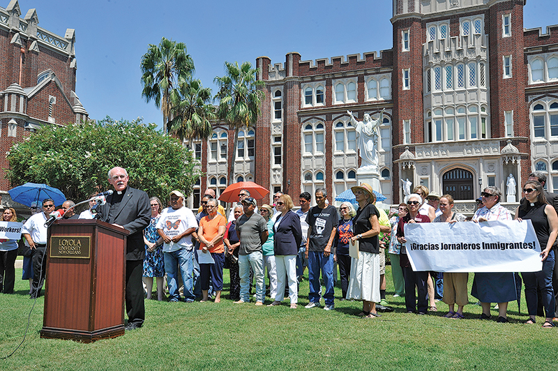 Rev. Fred Kammer, S.J. speaks at an immigration rally at Loyola University New Orleans (photo by S. Weishar)