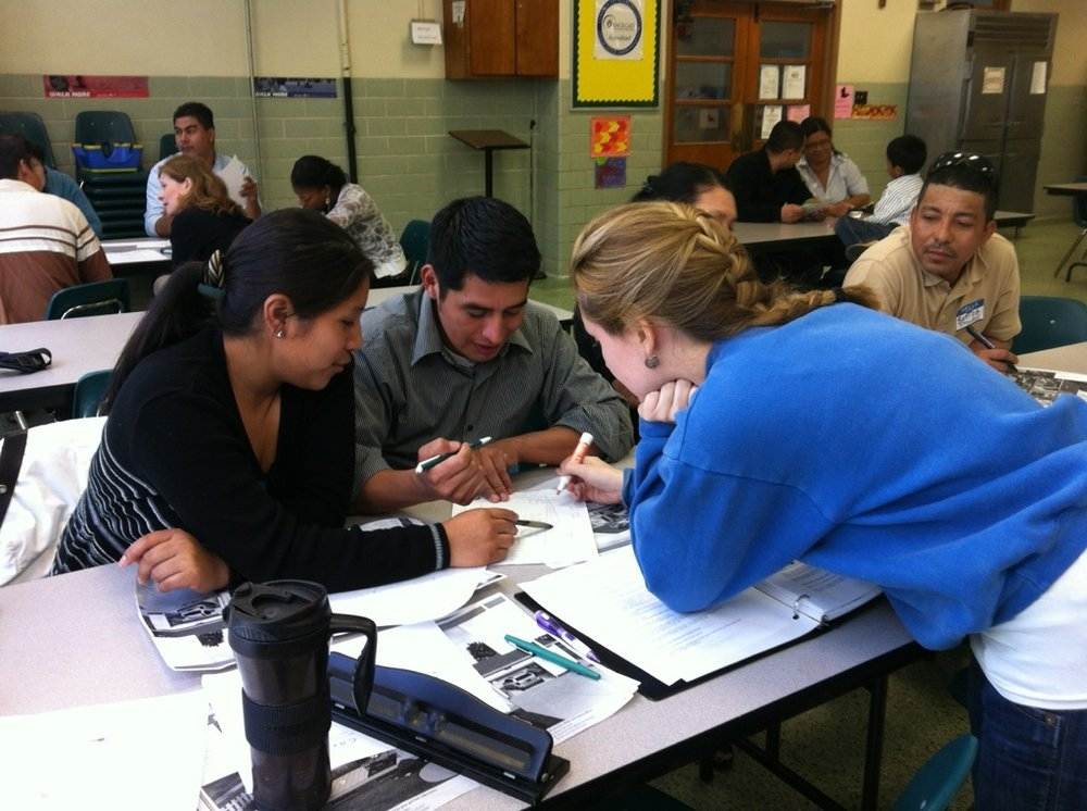 An ESL class in New Orleans with student volunteers from Loyola University New Orleans (photo by S. Weishar)